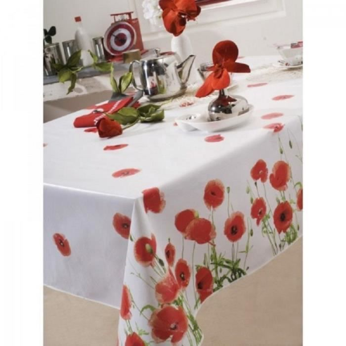 nappe en toile cir e rectangulaire 140x250 cm coquelicot red poppy rouge achat vente nappe. Black Bedroom Furniture Sets. Home Design Ideas