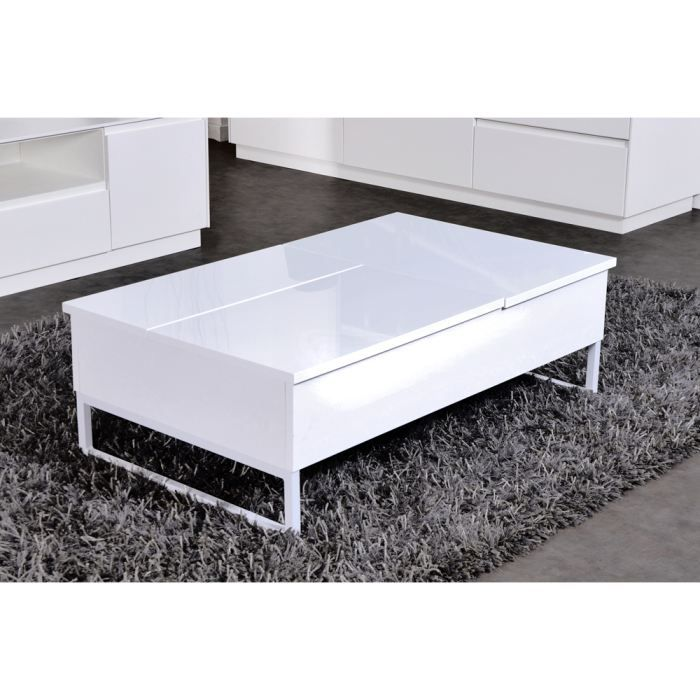 Best Table Basse Plateaux Relevables Laqu E Blanc Achat Vente Table Basse Best Table Basse
