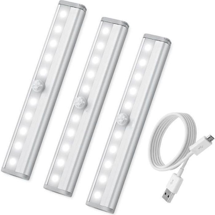 Lampe de Placard 40 LED Escaliers Cuisine pour Garde-robe Rechargeable USB Lumiere LED avec 3 Modes d/éclairage et Bande Magnetique Adh/ésive 1 lumi/ère chaude Lampe LED Detecteur de Mouvement
