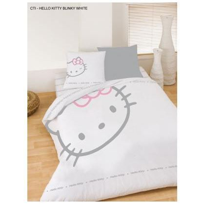 Drap housse hello kitty blinky blanc 140x200cm achat - Destockage drap housse ...