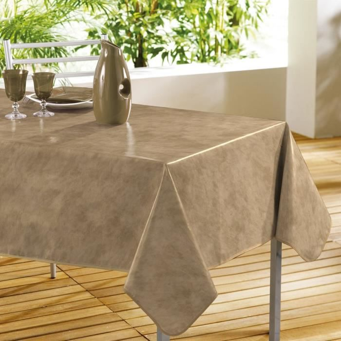 Nappe pvc rectangulaire 240x140 beton cire chamois achat - Nappe table rectangulaire ...