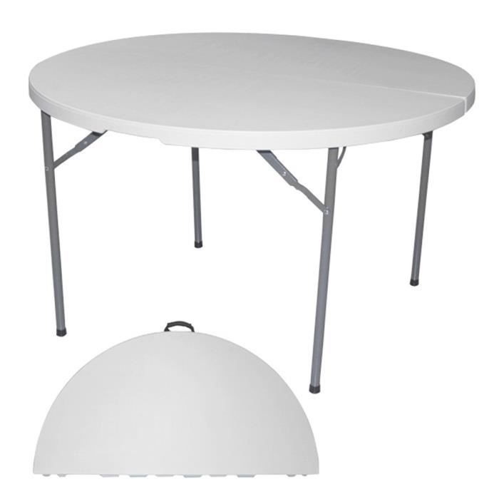 Table de Jardin Ronde Pliable 122x75x74cm - Camping Reception Jardin  Terrasse - 025
