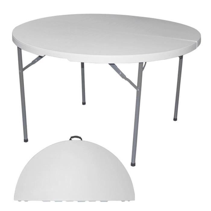 Diamètre 180 cm BJS Blanc Table Pliante Ronde HPDE Cuisine ...