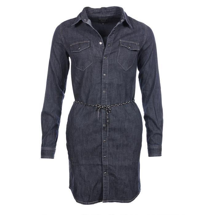 Kaporal Femme Robe En Jeans Waga Manches Longues Hiver 2017 Bleu Achat Vente Robe Cdiscount