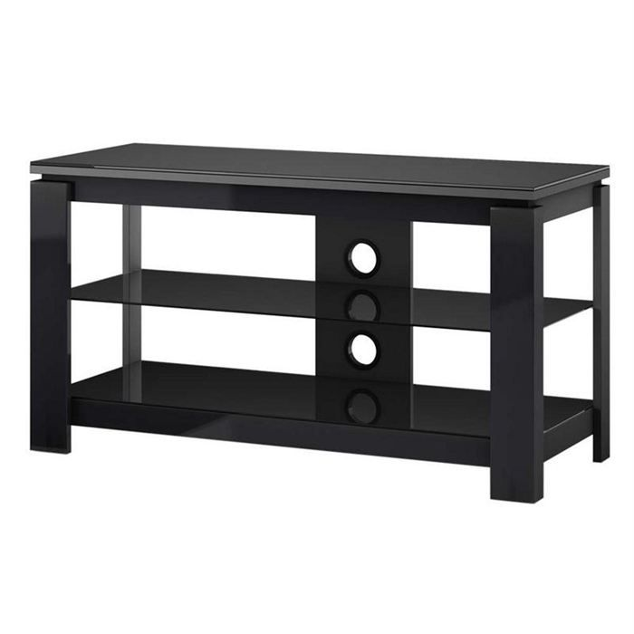meuble tv 3 tag res verre high gloss noir achat. Black Bedroom Furniture Sets. Home Design Ideas