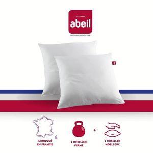 OREILLER ABEIL Lot de 2 Oreillers DOUBLE CONFORT 100% Coton