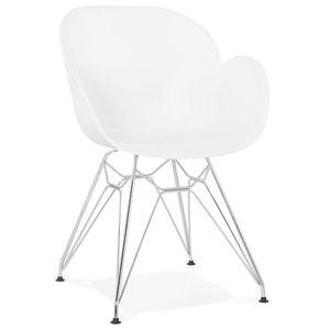 CHAISE HO - Chaise moderne blanche en matière plastique a