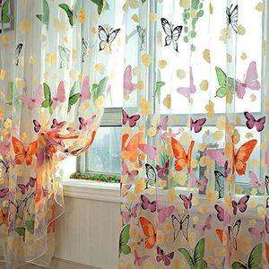 RIDEAU NOVA Rideaux Voilage Papillon Fleurs Cantonnière F