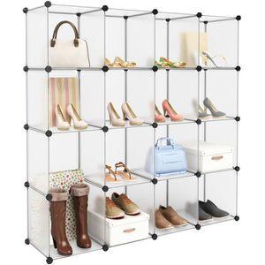ARMOIRE DE CHAMBRE Langria Étagère à Chaussures 16 Cubes Rangement Mo