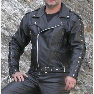 BLOUSON - VESTE Kc020 BLOUSON cuir noir PERFECTO KARNO à lacets do