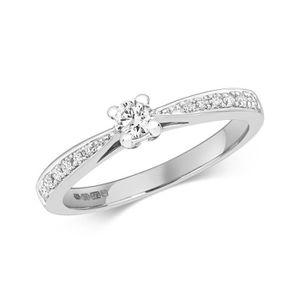 bague or blanc 375 diamant 0.27 ct