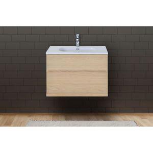 MEUBLE VASQUE - PLAN Meuble salle de bain 80 cm à suspendre chêne ENIO