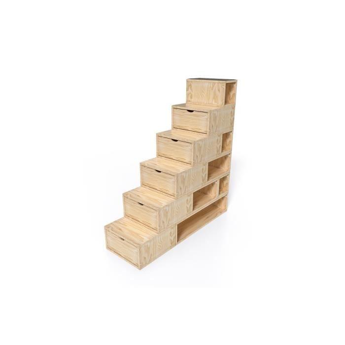 Escalier Cube de rangement hauteur 150cm - Couleur - Vernis Naturel