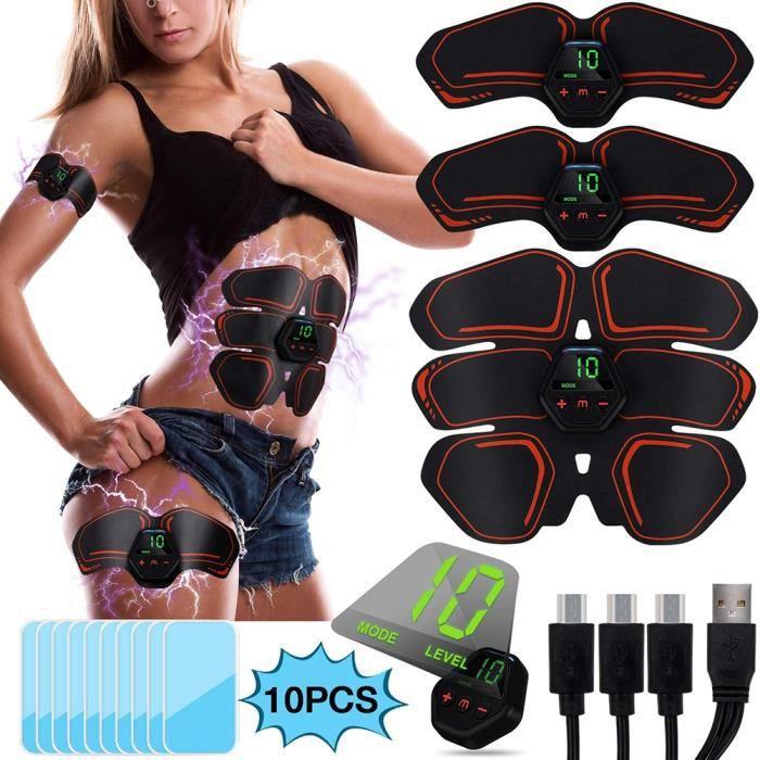 Fitness Abdomen Abs Muscle Stimulator Bras Hip Toner Shaper Trainer Strap avec 10 Coussinets d'hydrogel pour hommes femmes
