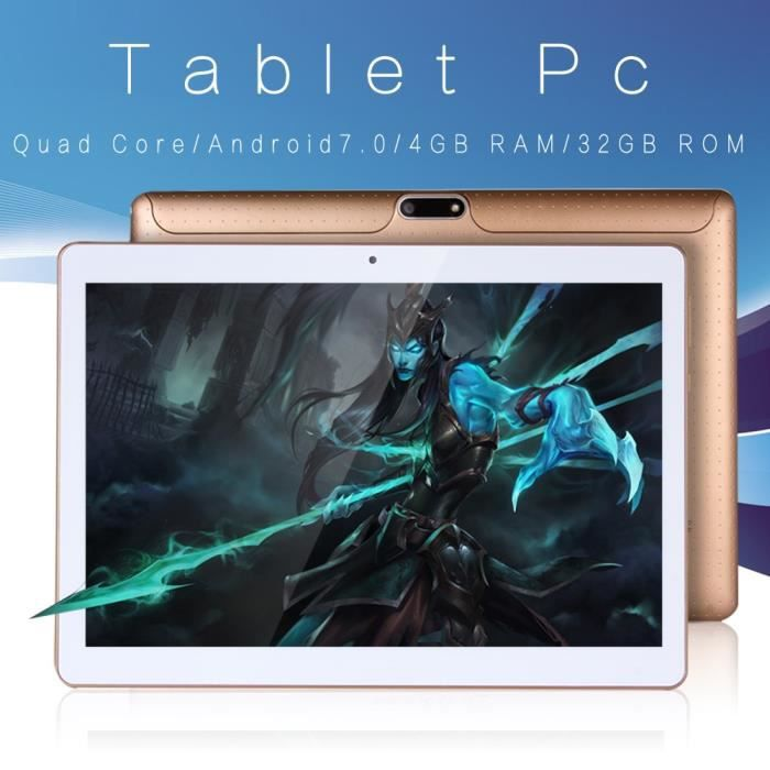 Nouveau 10 pouces Original Design 3G appel téléphonique Android 7.0 Quad Core 4G + 32G Android Tablet PC WiFi Bluetooth GPS IPS Tabl