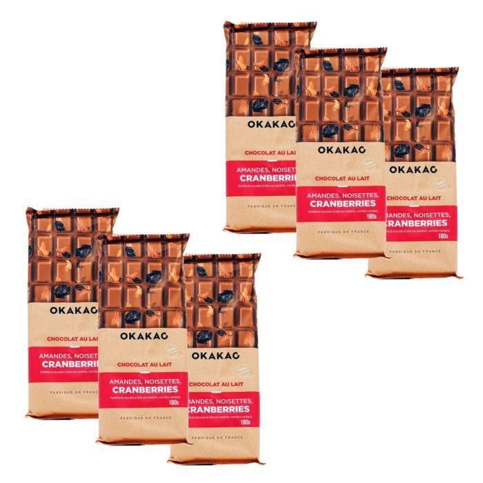 Lot 6x Chocolat Lait Amandes, Noisettes, Cranberries - Okakao - tablette 180g