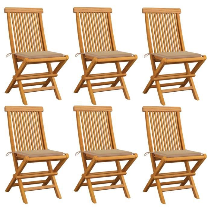 ❤ Lot de 6 Chaises de jardin Mode - Fauteuil de Jardin avec coussins - Chaise d'extérieur beige Bois de teck massif ♪♪22620
