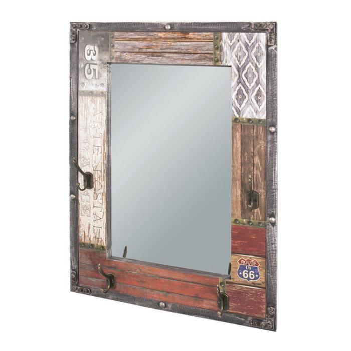 Miroir murale en bois imprimé texte + 4 crochets en métal L55xH75cm WHITSTABLE - Route 66
