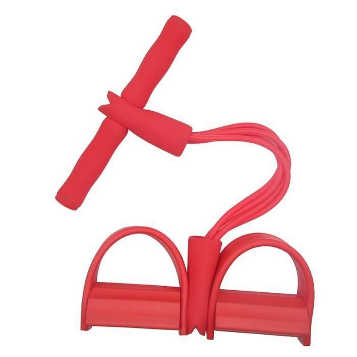 2019 élastique Pull cordes abdominales exerce-ur rameur ventre résistance bande Gym Sport ent - Modèle: 4 tubes red - HSJSTLDB01011