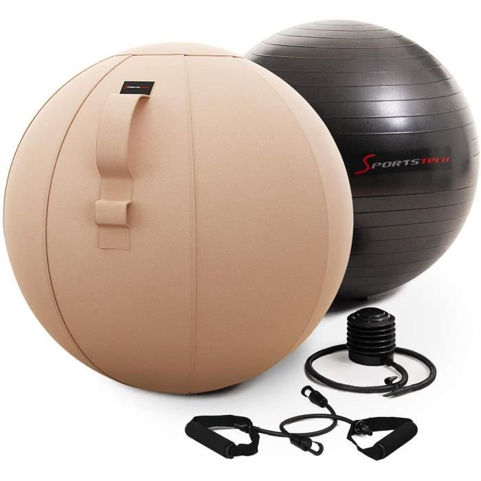Sportstech Balle d'exercices Fitness 65cm - Home & Office - Pilates, Yoga, Grossesse & Gym à Domicile - Ballon Fitness - Chaise d'éq