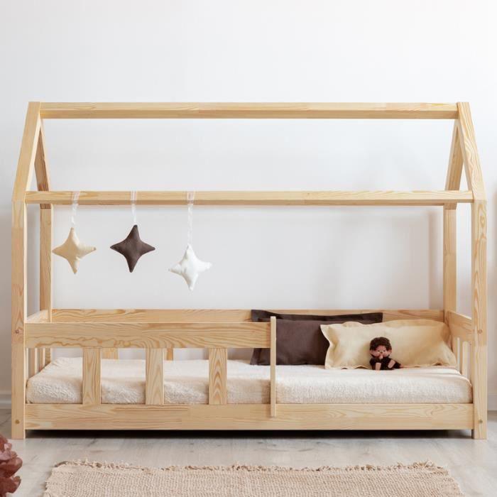 Lit cabane / Lit maisonnette - MALLORY - 90x160 cm - bois de pin - style scandinave