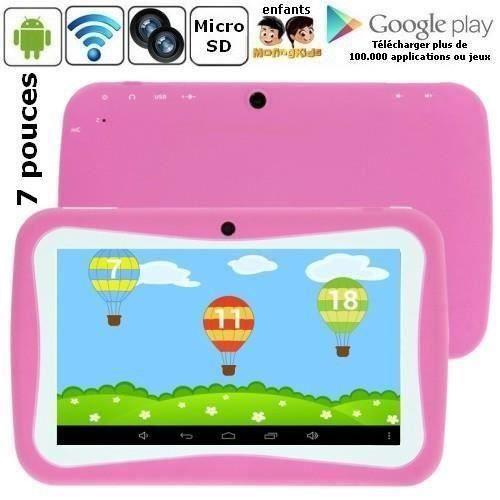 Tablette enfant rose écran 7p tactile 4 Go Android