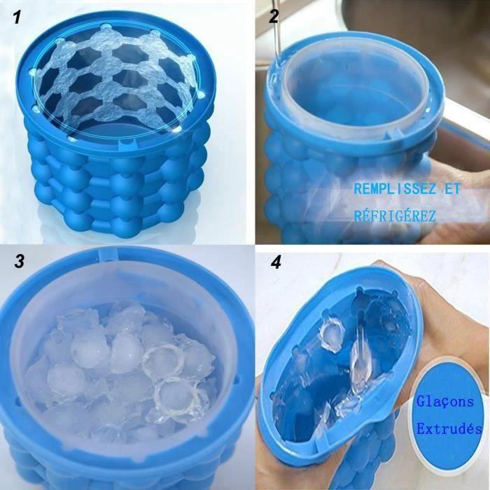 Ice Genie Cube Maker Seau à glace en silicone à double usage Save Space Seau à glace avec pince E21997