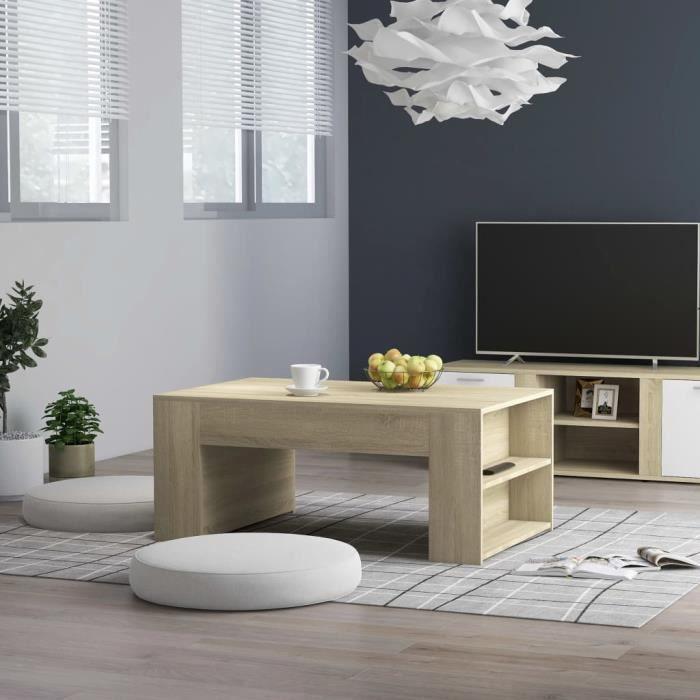 Haute qualité - Table basse style Scandinave - Bout de canapé Table à thé Chêne sonoma 100x60x42 cm Aggloméré