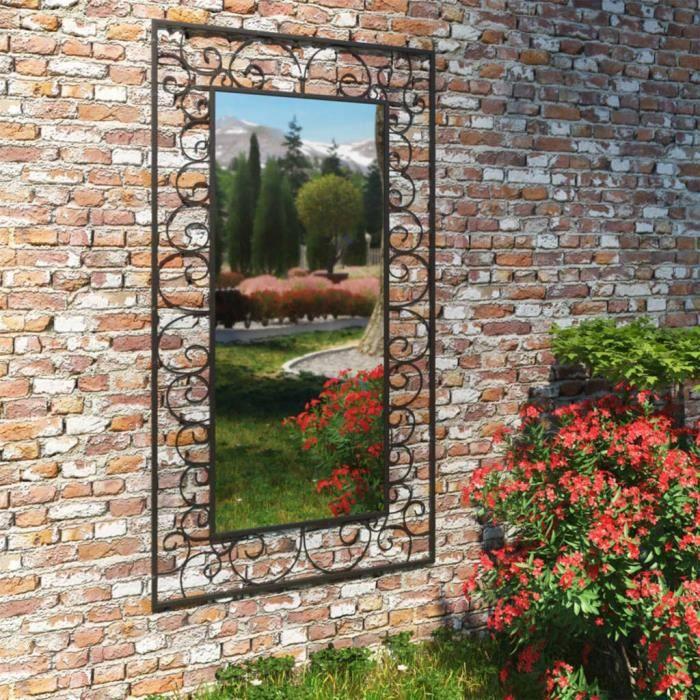 ����6221Elégant Magnifique- Miroir mural de jardin - Miroir Extérieur Miroir Moderne - Rectangulaire 60 x 110 cm Noir