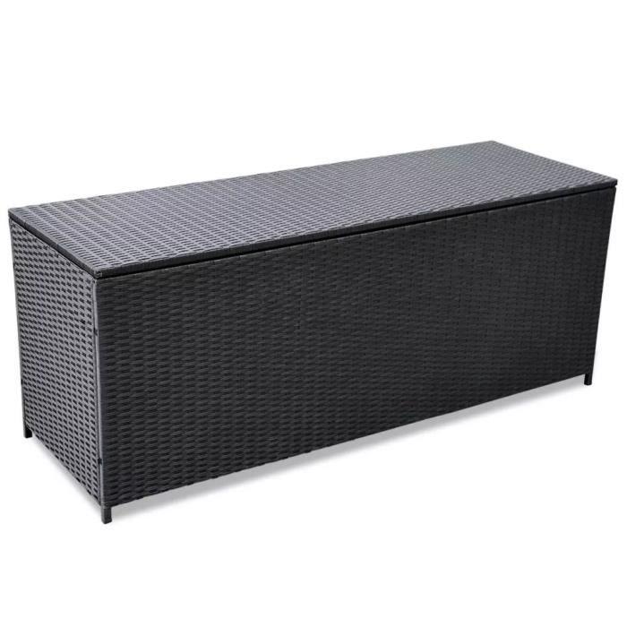 Coffre de Jardin Boîte de rangement de jardin Noir 150x50x60 cm Résine tressée