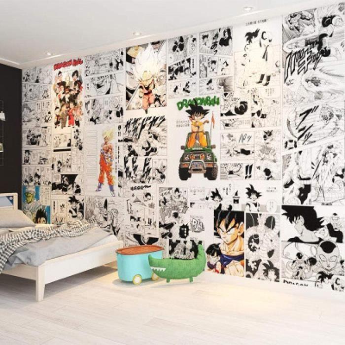 STICKERS - LETTRES ADHESIVES 3D Style Japonais Noir Et Blanc Dragon Ball Bande Dessin&eacutee Papier Peint Enfants Chambre Ch79