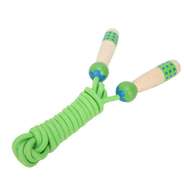 Tbest corde à sauter d'exercice Corde à sauter en bois Fitness enfants étudiant cordes à sauter jouet extérieur 3 mètres