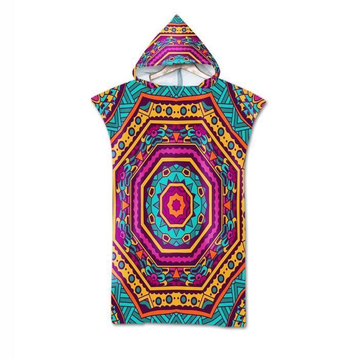 Serviette de bain,Adulte plage costume changement Robes Poncho capuche serviette de plage géométrique imprimé - Type Bleu marine