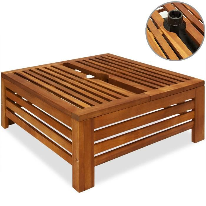 DEUBA - Table d´appoint extérieur 62x62x26 cm - cache pied de parasol diam. max. 8 cm - en bois d´acacia