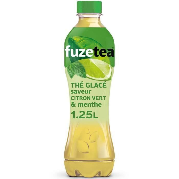 LOT DE 12 - FUZE TEA : Thé vert glacé saveur citron vert & menthe 1.25L
