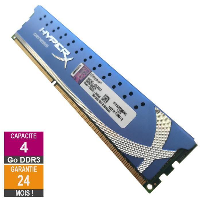 Barrette Mémoire 4Go Ram Ddr3 Kingston Khx1600c9d3 4G Dimm Pc3 12800U