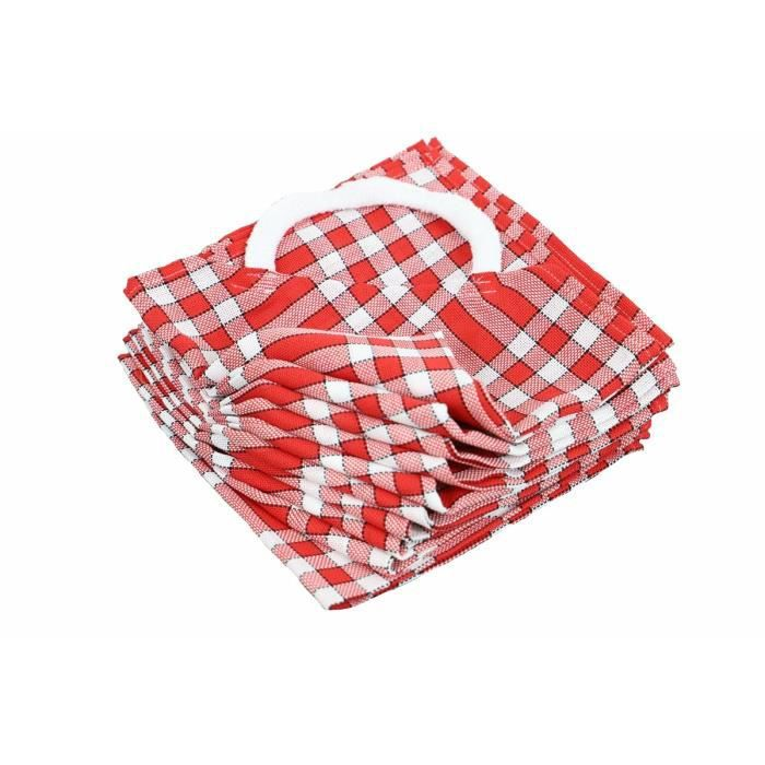 LINANDELLE - Lot de 10 bavoirs enfant coton carreaux vichy Normand CLEAN KID - Rouge