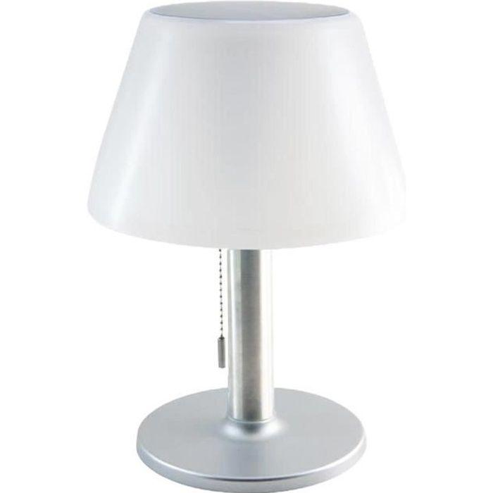 Lampe de table solaire pied en aluminium LED blanc dimmable LENNY H28cm avec interrupteur