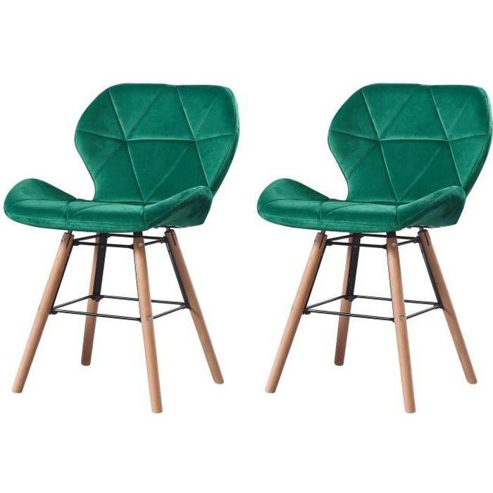 LOUNA - Lot de 2 chaises scandinave - Velours - Vert - pieds en métal design salle a manger salon - 54 x 48 x 73 cm