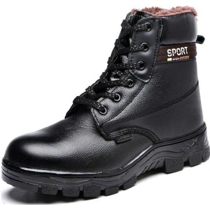 Chaussures de sécurité montantes homme femme de travail d'hiver anti-perforation chaudes bottes de protection en velours de coton