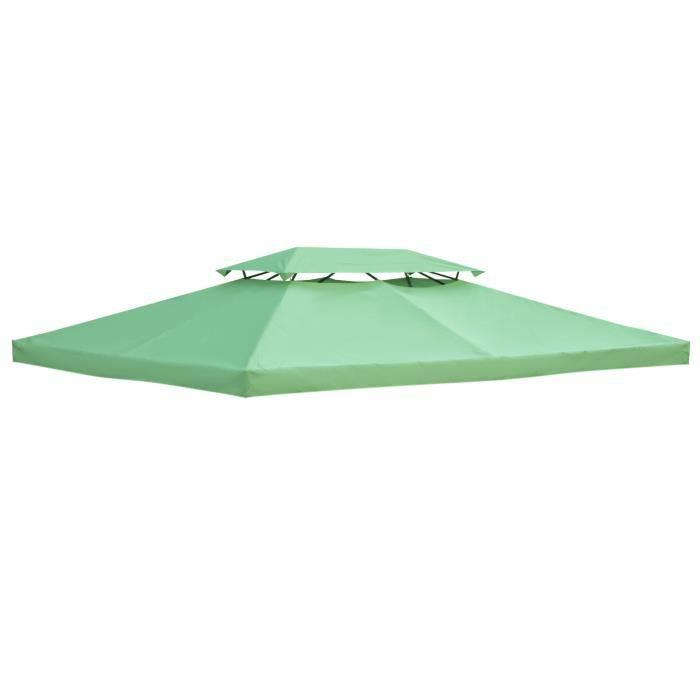 Toile de rechange pour pavillon tonnelle tente 3 x 4 m polyester haute densité imperméabilisé 180 g/m² vert 300x400x1cm Vert