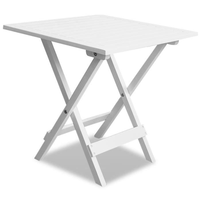 TABLE BASSE Table à thé-scandinave salon-d'extérieur Bois d'acacia Blanc