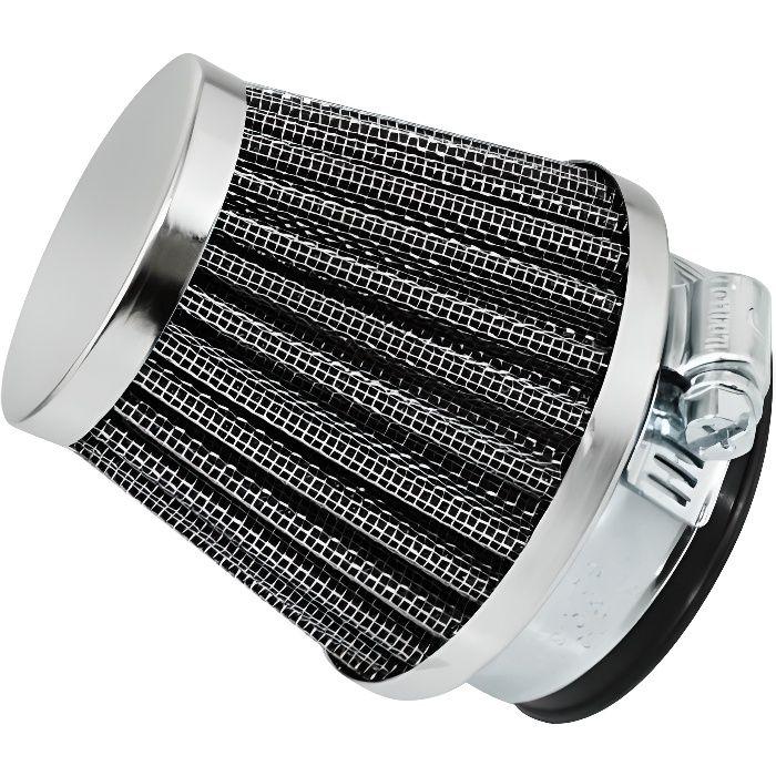 Filtre a air replay kn grille acier chrome fixation droite diam interieur 50mm (longueur totale 80mm, longueur cornet 60mm)