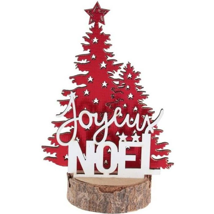 Décoration de table Joyeux Noël avec sapin rouge sur socle en bois (x1) REF/7066