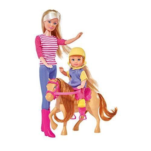 Simba - 105738051 - Poupée Enfant - Steffi Love - Entraînement d'Équitation avec Evi Love - 29 cm et 12 cm 105738051