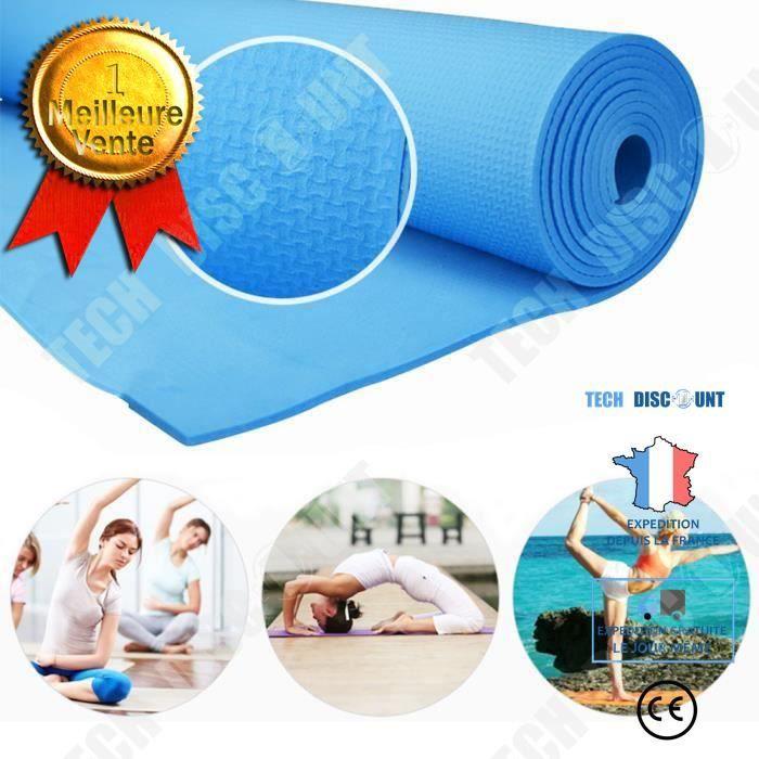 TD® Tapis de Yoga antiderapant /Epais 6mm avec sac portable Yoga d'exercice Tapis de Sol /Résistant/Multifonctionnel/ 60X173 cm