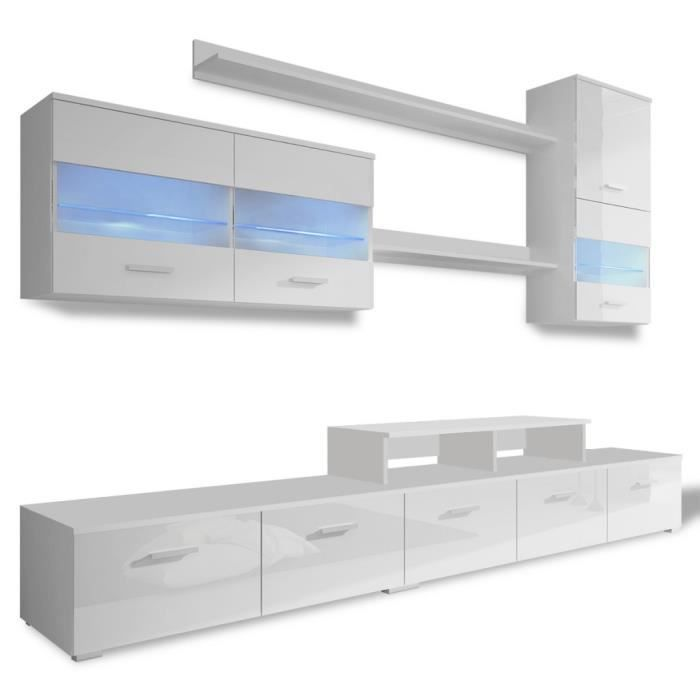 Meubles audio video et pour home cinema 7 pieces de meuble murale en blanc br - Meuble pour piece mansardee ...