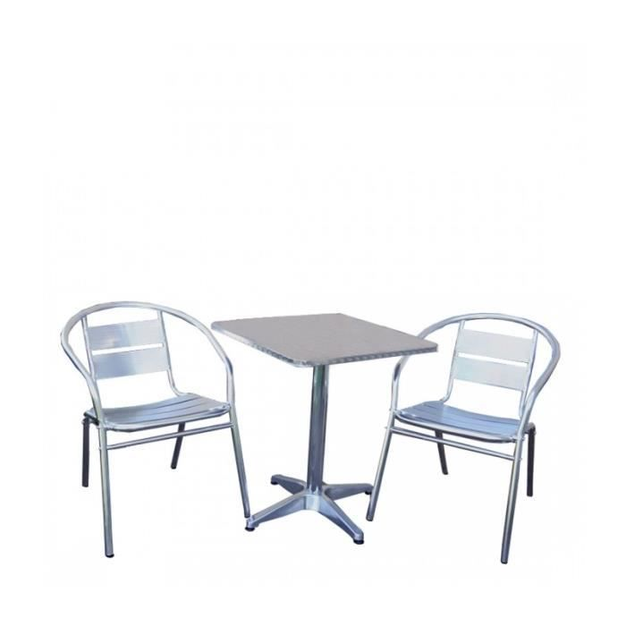 Table de bistrot 2 chaises aluminium terrasse mdj04022 for Chaise salon de jardin aluminium