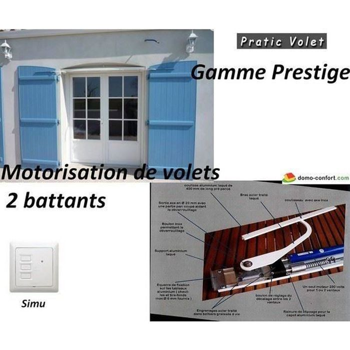 motorisation radio volets battants sur mesure prestige 2 vantaux brascoulissant prestsm2b. Black Bedroom Furniture Sets. Home Design Ideas