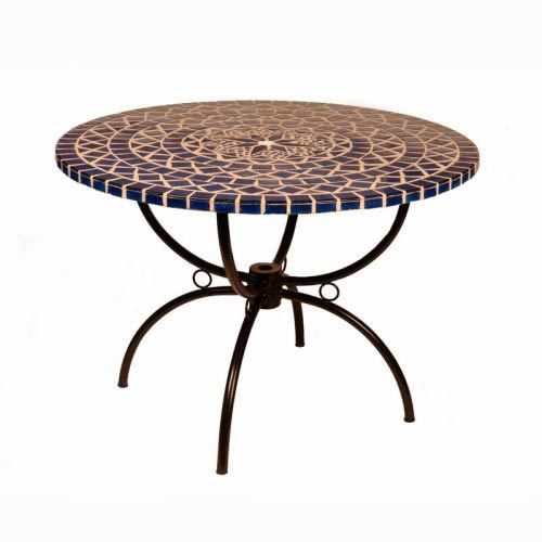 Table ronde mosa que bleue diam 110 cm medicis achat vente table de jardin table ronde for Achat table de jardin mosaique